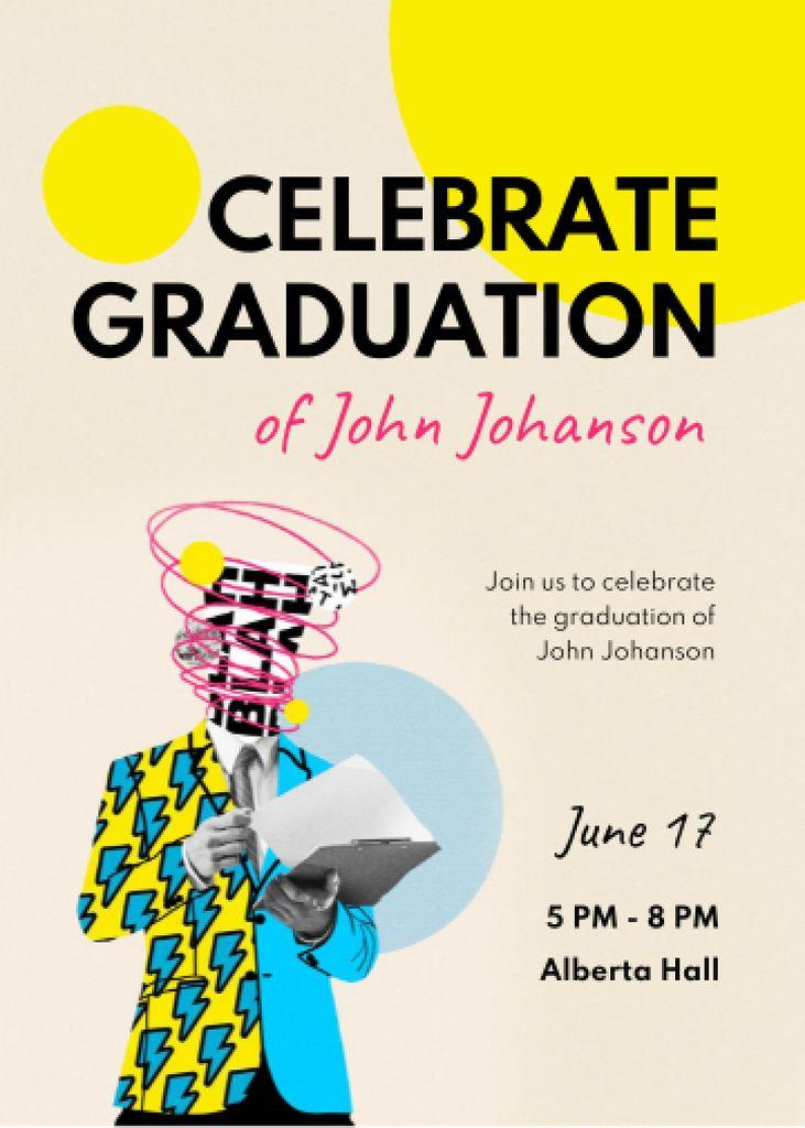 Designvorlage Graduation Party Announcement with Creative Illustration of Student für Invitation
