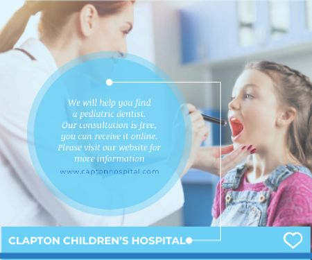 Ontwerpsjabloon van Large Rectangle van Children's Hospital Ad Pediatrician Examining Child