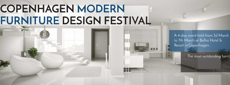 Furniture Design Festival with Modern White Room Facebook cover Modelo de Design