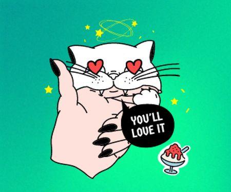 Cute Cat with Hearts Eyes Large Rectangle – шаблон для дизайну
