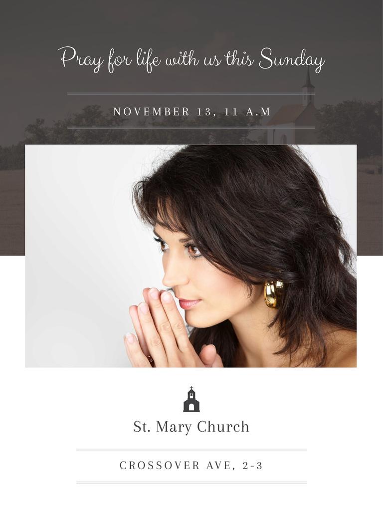 Church invitation with Woman Praying — Maak een ontwerp