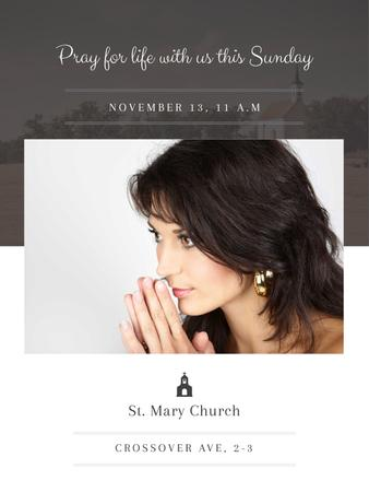Plantilla de diseño de Church invitation with Woman Praying Poster US
