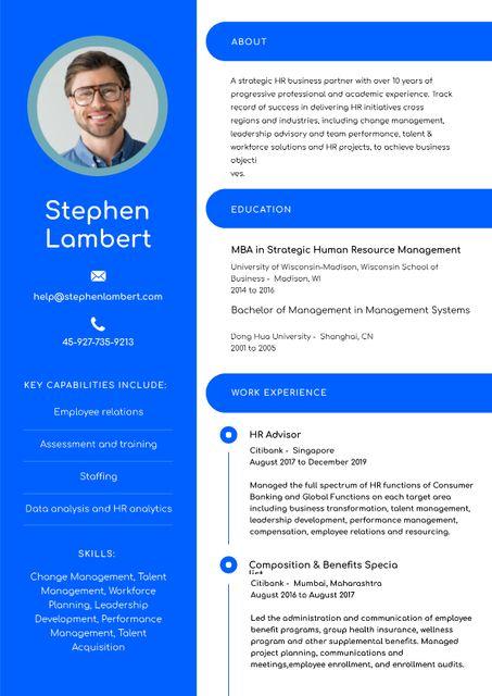 HR Advisor skills and experience Resume – шаблон для дизайну