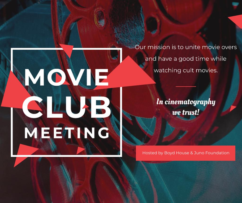 Movie Club Meeting Vintage Projector Facebook Modelo de Design