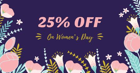 Women's Day Discount Offer with Flowers Facebook ADデザインテンプレート