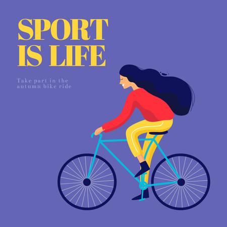 Sport Inspiration with Woman on Bicycle Instagram – шаблон для дизайну