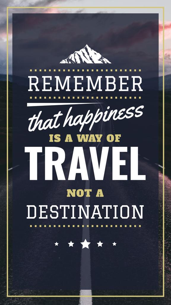Designvorlage Travel Quote Empty Road View für Instagram Story