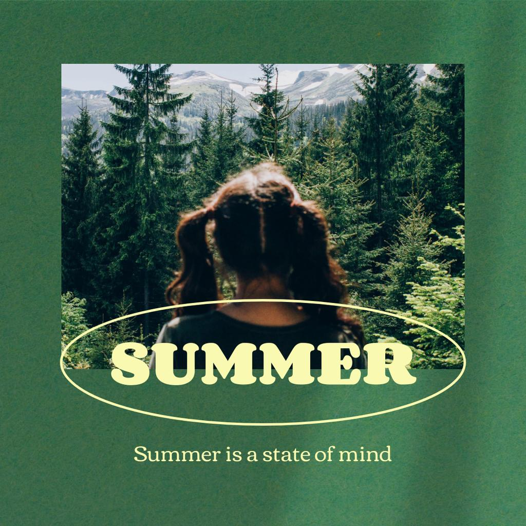 Summer Inspiration with Girl in Green Forest Instagram Design Template