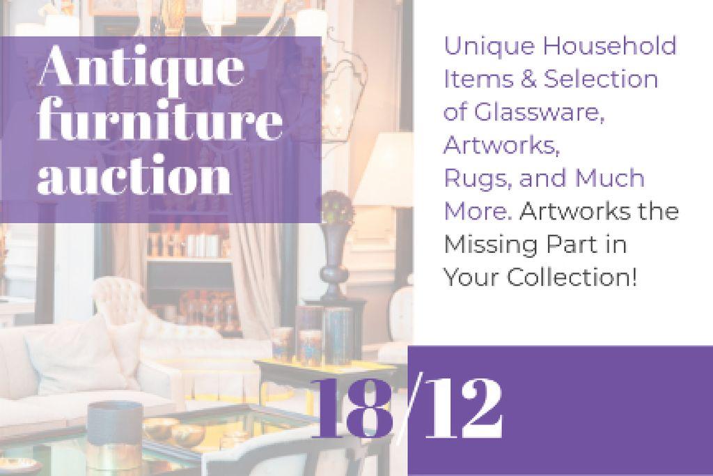 Antique Furniture Auction Announcement Gift Certificate – шаблон для дизайна