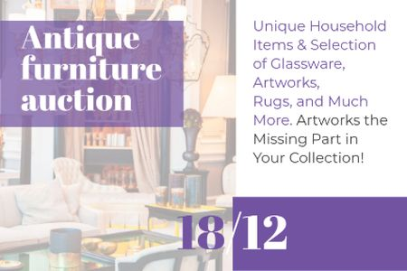 Template di design Antique Furniture Auction Announcement Gift Certificate