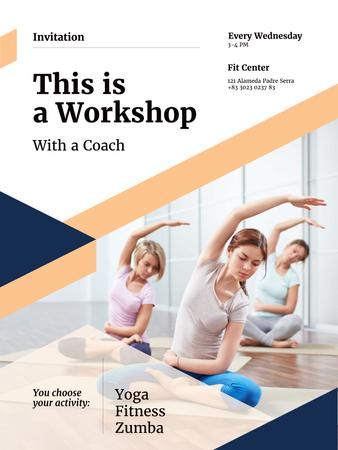 Plantilla de diseño de Workshop invitation with Women practicing Yoga Poster US