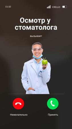 Smiling Woman Dentist holding Apple Instagram Story – шаблон для дизайна