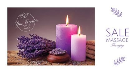 Massage Offer with Lavender and Aroma Candles Facebook AD Πρότυπο σχεδίασης
