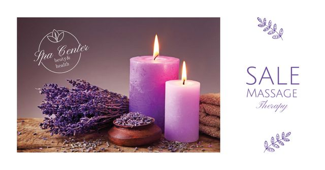 Massage Offer with Lavender and Aroma Candles Facebook AD Design Template