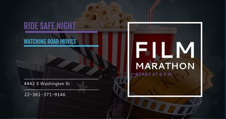 Film marathon night Annoucement Facebook AD Modelo de Design