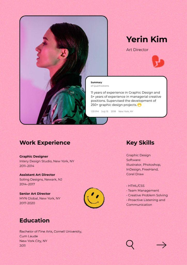 Art Director skills and experience Resume – шаблон для дизайну