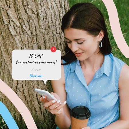 Plantilla de diseño de Funny Joke with Woman using Smartphone Animated Post