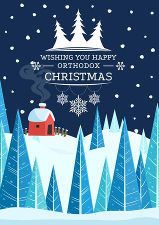 Christmas Greeting with Snowy House Poster Tasarım Şablonu