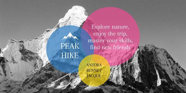 Peak hike trip announcement Image Design Template