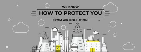 Air pollution concept with big plant Facebook cover Tasarım Şablonu