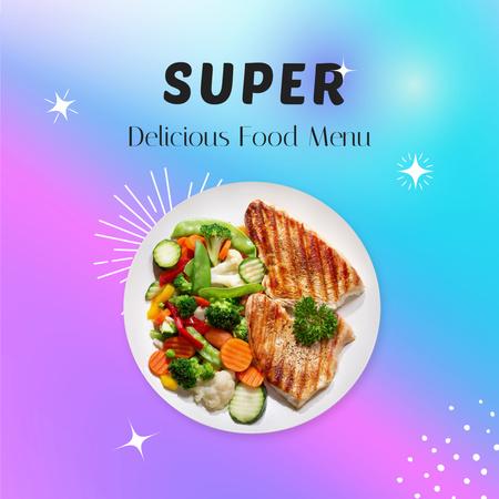 Menu Ad with Tasty Dish on Plate Instagram Modelo de Design