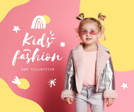 New Kid's Fashion Collection Offer with Stylish Little Girl Facebook – шаблон для дизайну