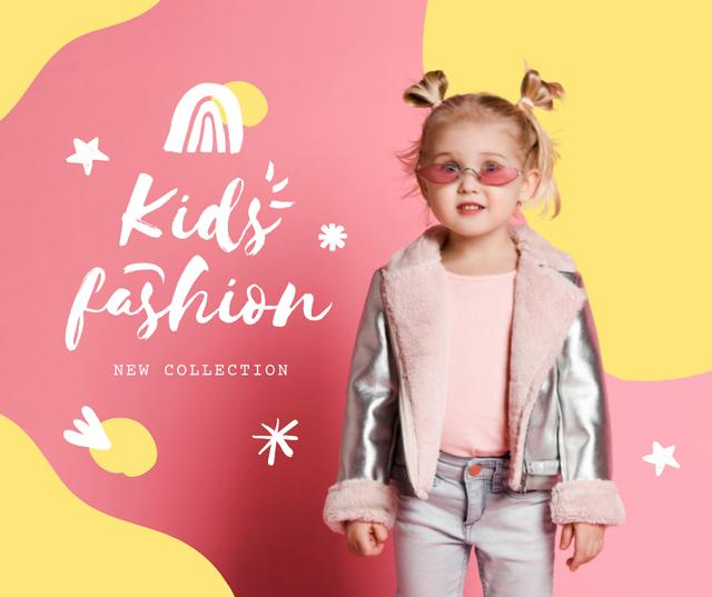 New Kid's Fashion Collection Offer with Stylish Little Girl Facebook – шаблон для дизайна