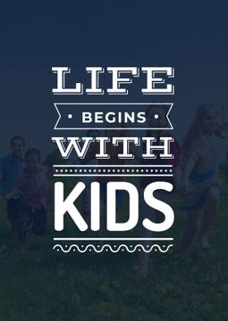 Motivational Quote with Kids on Green Meadow