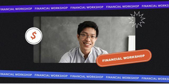 Smiling Man for Financial Workshop Twitter Design Template