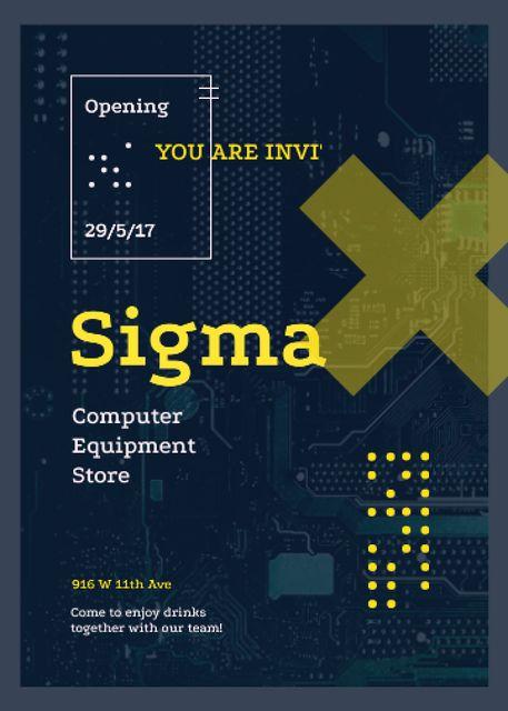 Template di design Computer circuit board for Electronics store Invitation