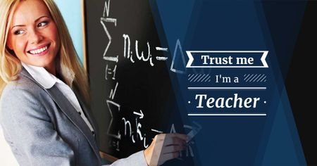 Female teacher writing on chalkboard Facebook AD Modelo de Design
