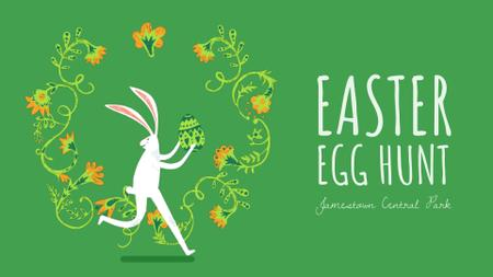 Plantilla de diseño de Easter bunny running with colored egg Full HD video
