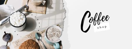 Cup of Coffee and Cookie for Breakfast Facebook cover – шаблон для дизайну