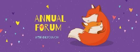 Ontwerpsjabloon van Facebook cover van Mother's Day Annual Forum Announcement with Foxes