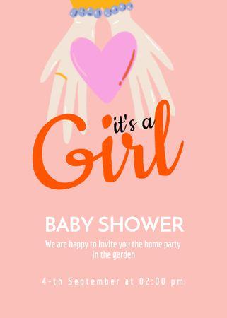 Plantilla de diseño de Baby Shower Announcement with Hands holding Heart Invitation