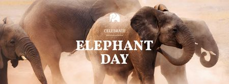 Modèle de visuel World Elephant Day Holiday Announcement - Facebook cover
