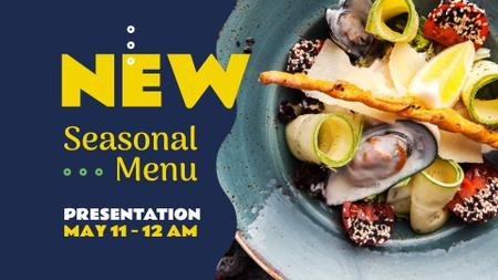 Seasonal Meal with Seafood and Vegetables FB event cover Modelo de Design