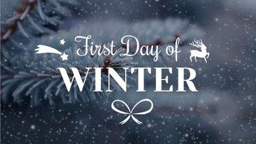 First Day of Winter Greeting Frozen Fir