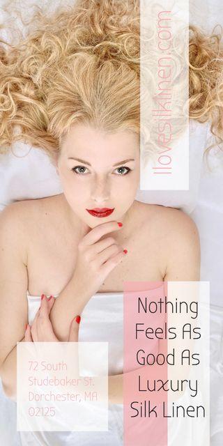 Ontwerpsjabloon van Graphic van Woman resting in bed with silk linen