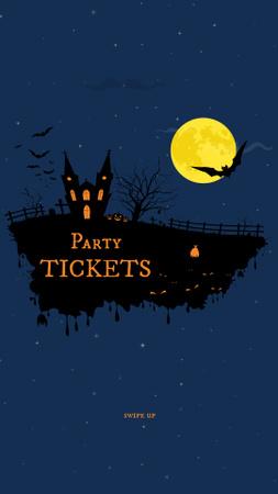 Designvorlage Halloween Party Tickets Offer with Scary Dark Castle für Instagram Story