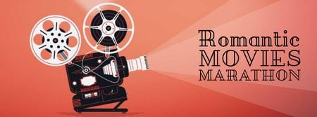 Template di design Film projector with Valentine's Day Movie Facebook Video cover