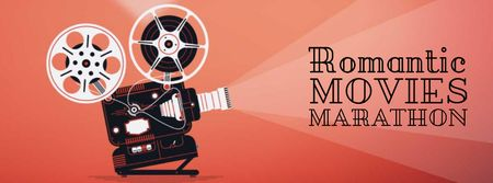 Ontwerpsjabloon van Facebook Video cover van Film projector with Valentine's Day Movie