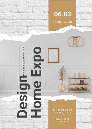 Modern interior with golden elements Invitation – шаблон для дизайна
