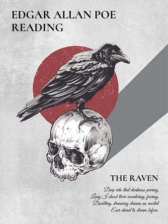 Poems reading invitation with Raven Sitting on Skull Poster US – шаблон для дизайна