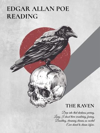 Poems reading invitation with Raven Sitting on Skull Poster USデザインテンプレート