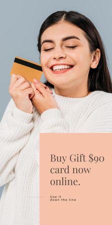 Ontwerpsjabloon van Graphic van Gift Card Offer with Smiling Woman