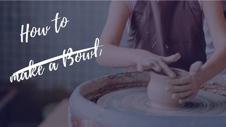 Pottery Workshop Ad Woman Creating Bowl Youtube Thumbnail – шаблон для дизайну