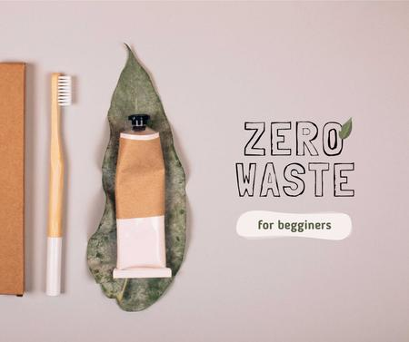 Ontwerpsjabloon van Facebook van Zero Waste concept with Eco Products