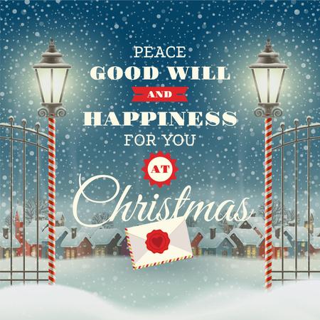 Ontwerpsjabloon van Instagram van Merry Christmas Greeting with Snowy Village