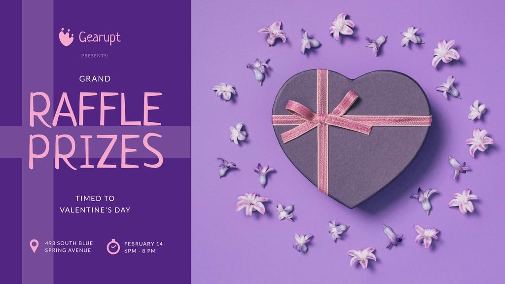 Valentine's Day Heart-Shaped Gift in Purple FB event cover Tasarım Şablonu